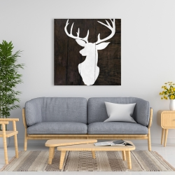 Canvas 36 x 36 - Silhouette of a deer on wood