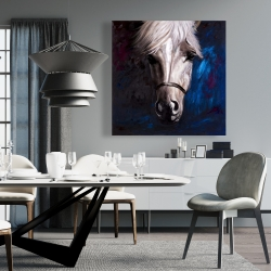 Canvas 36 x 36 - White horse on blue background