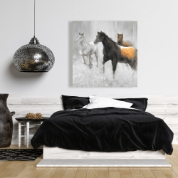 Canvas 36 x 36 - Abstract herd of horses