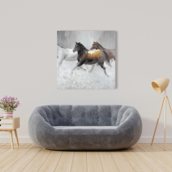 Canvas 36 x 36 - Herd of wild horses