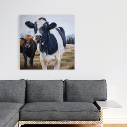 Canvas 36 x 36 - Two cows eating grass