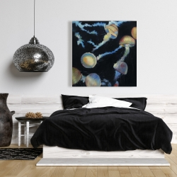Canvas 36 x 36 - Colorful jellyfishes in the dark