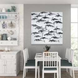 Canvas 36 x 36 - Gray school of fish