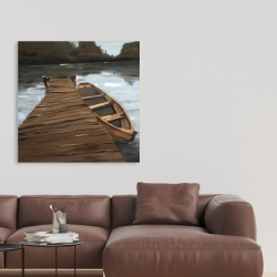 Canvas 36 x 36 - Lake, dock and boat