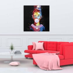 Canvas 36 x 36 - Colorful audrey hepburn portrait with bubblegum