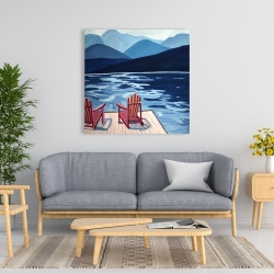 Canvas 36 x 36 - Lake, dock, mountains & chairs