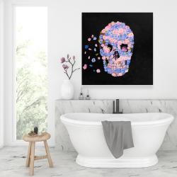 Canvas 36 x 36 - Skull of flowers in flight
