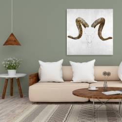Canvas 36 x 36 - Aeries skull with brown horns