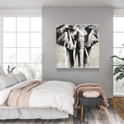 Canvas 36 x 36 - Grayscale elephant