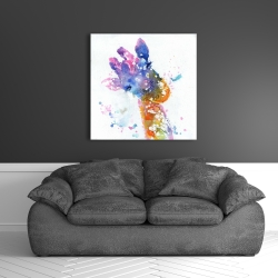 Canvas 36 x 36 - Abstract giraffe with color splash