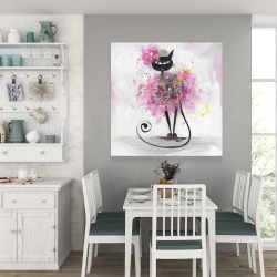 Canvas 36 x 36 - Cartoon cat with pink flowers
