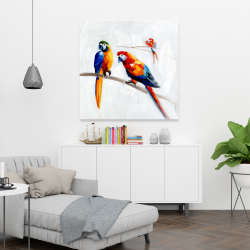 Canvas 36 x 36 - Parrots on a branch