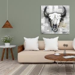 Canvas 36 x 36 - Industrial style bull skull
