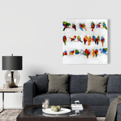 Canvas 36 x 36 - A lot of colorful birds on a wire
