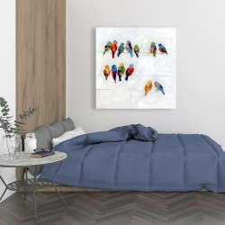 Canvas 36 x 36 - Colorful birds on a wire