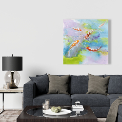 Canvas 36 x 36 - Four koi fish swimming