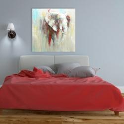 Toile 36 x 36 - éclats de peinture sur éléphant abstrait
