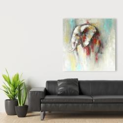 Toile 36 x 36 - éléphant abstrait avec éclats de peinture