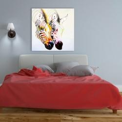 Canvas 36 x 36 - Couple of colorful zebras