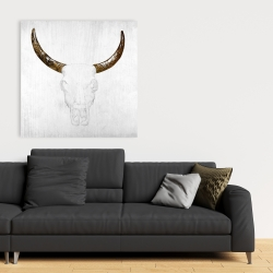 Canvas 36 x 36 - Bull skull with brown horns