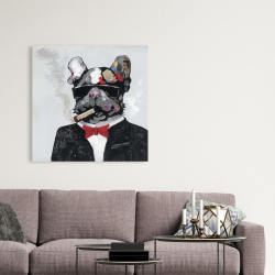 Canvas 36 x 36 - Smoking gangster bulldog