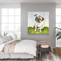Canvas 36 x 36 - Cute pug with a rose in his mouth