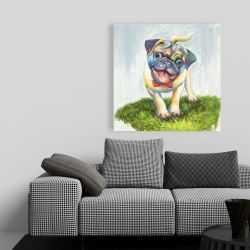 Canvas 36 x 36 - Colorful smiling pug