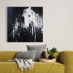 Canvas 36 x 36 - Abstract horse on black background