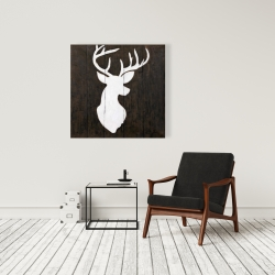 Canvas 36 x 36 - White silhouette of a deer on wood