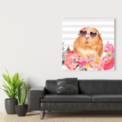 Canvas 36 x 36 - Guinea pig with glasses