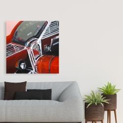 Canvas 36 x 36 - Vintage red car dashboard