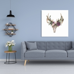 Canvas 36 x 36 - Deer skull with flowers