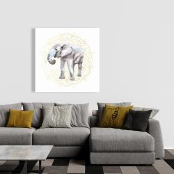 Canvas 36 x 36 - Elephant on mandalas pattern