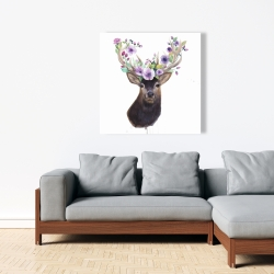 Canvas 36 x 36 - Roe deer head with flowers