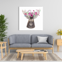 Canvas 36 x 36 - Deer head with flowers