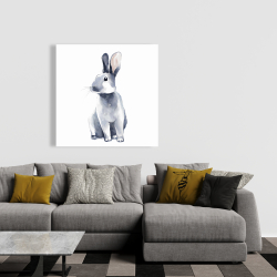 Canvas 36 x 36 - Gray curious rabbit