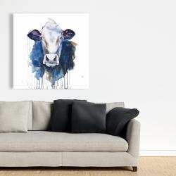 Toile 36 x 36 - Vache à l'aquarelle
