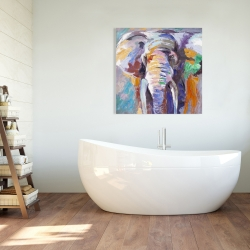 Canvas 36 x 36 - Elephant in pastel color
