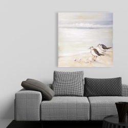 Canvas 36 x 36 - Two sandpipers on the beach