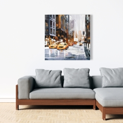 Canvas 36 x 36 - Big city street with yellow taxi
