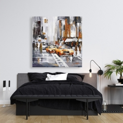 Canvas 36 x 36 - Abstract citystreet with yellow taxis