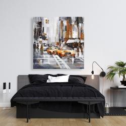 Toile 36 x 36 - Rue de ville abstraite avec taxis jaunes
