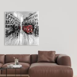 Toile 36 x 36 - Rue en noir et blanc avec bus rouge