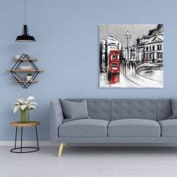 Canvas 36 x 36 - Abstract gray city with red bus