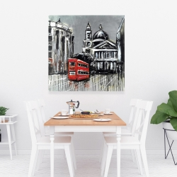 Canvas 36 x 36 - London street with red bus