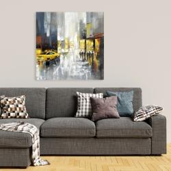 Canvas 36 x 36 - Rainy busy street