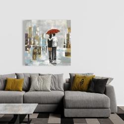 Canvas 36 x 36 - Couple walking under their umbrella