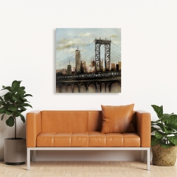 Canvas 36 x 36 - City bridge by a cloudy day