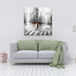 Toile 36 x 36 - Rue en tons de gris avec accents rouges