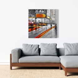 Canvas 36 x 36 - Gray street with orange accents